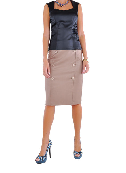 Row Buttons Khaki Skirt # CA-0292B