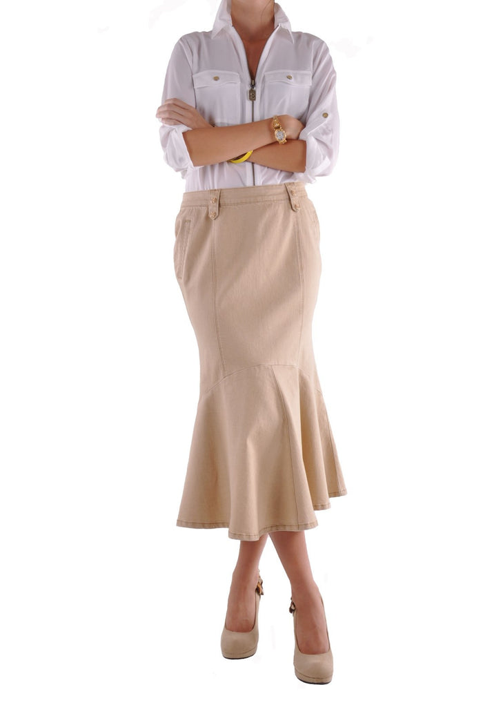 Curvy In Khaki Denim Skirt # CA-0523
