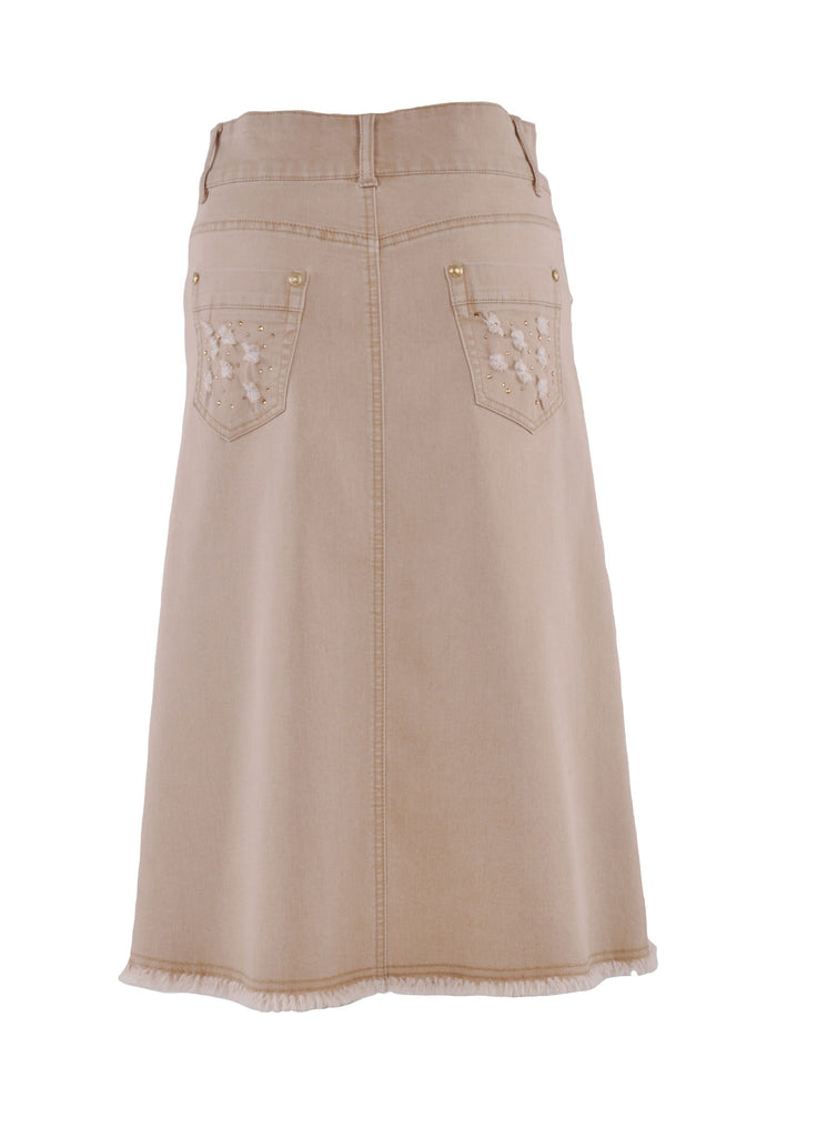 Light Khaki Queen Denim Skirt # CAL-0565
