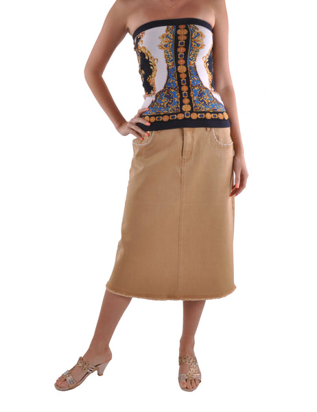Khaki Queen Denim Skirt # CA-0565