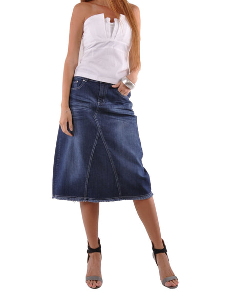 Country Chic Denim Skirt - Plus Size # CAP-0593