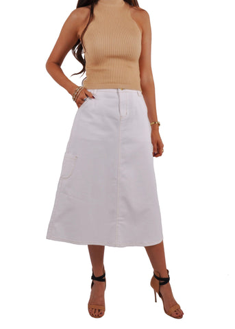 Cute Cargo White Denim Skirt # CA-0634