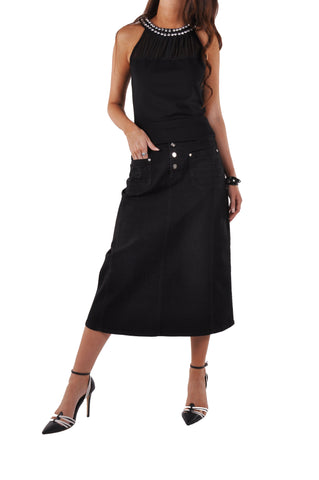 Daily Black Denim Skirt # CA-0647