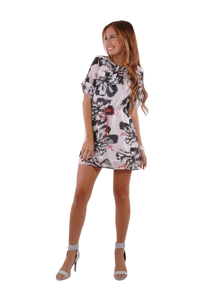 V Neck Ink Print Chiffon Dress # DR-0001