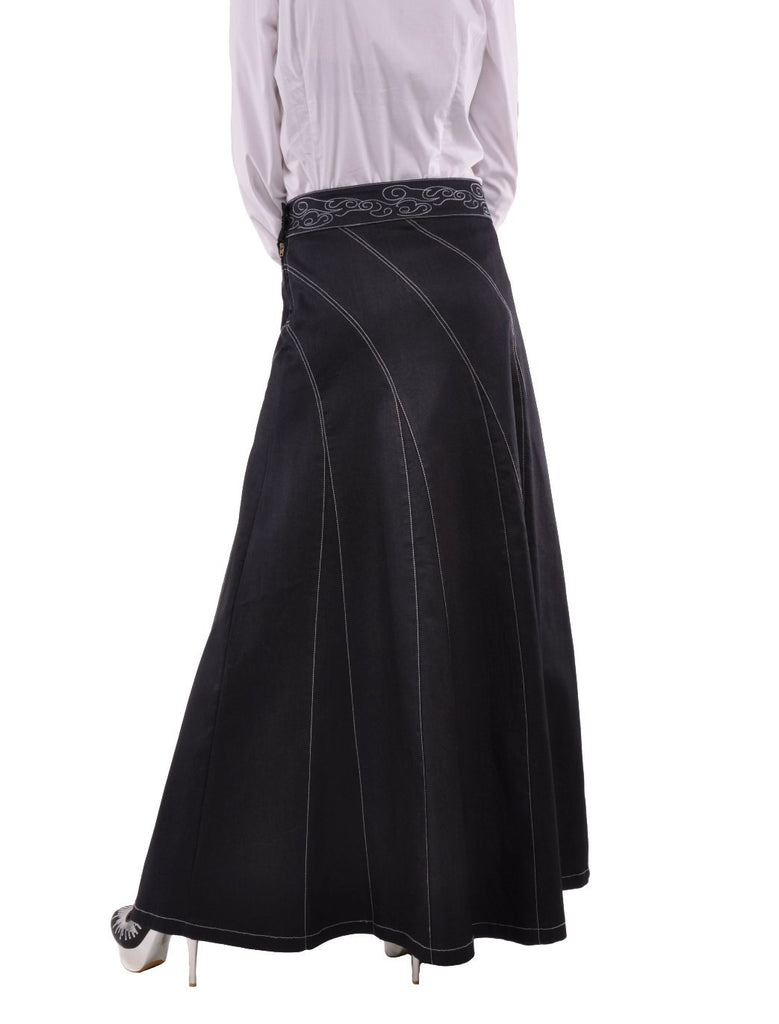 Sweeping Beauty Long Denim Skirt # ET-0538
