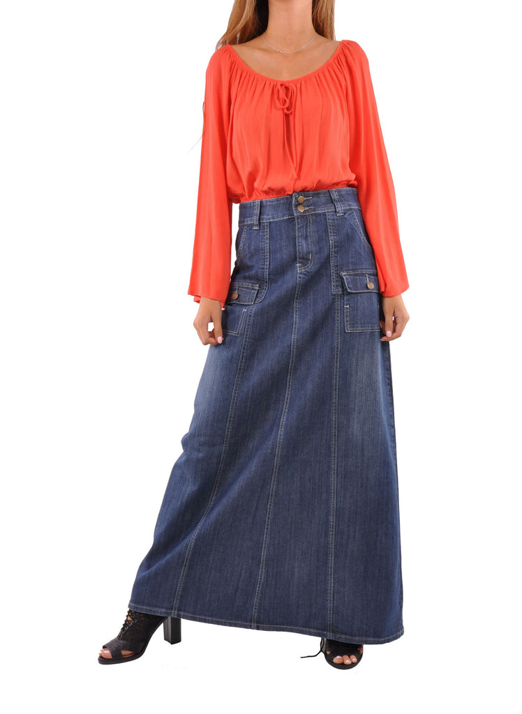 Appealing In Cargo Denim Skirt - Plus Size # ETP-0604