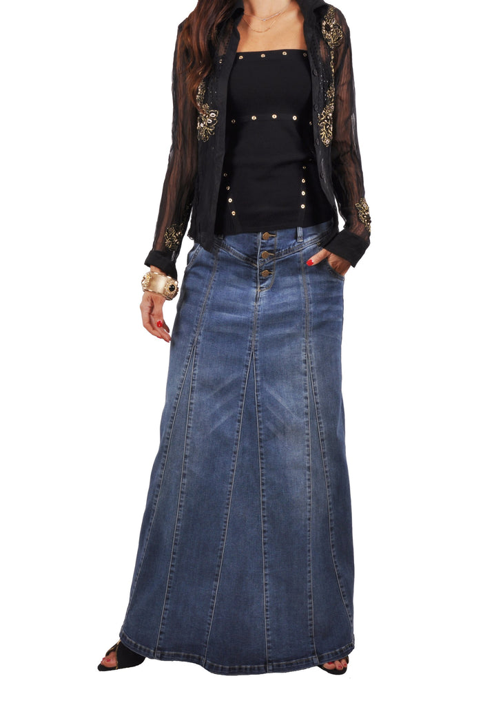 Victoria Casual Long Jean Skirt # ET-0635