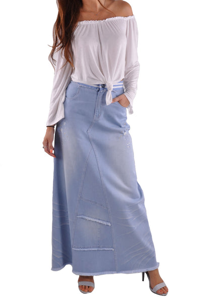 Trendy Blue Long Jean Skirt # ET-0640