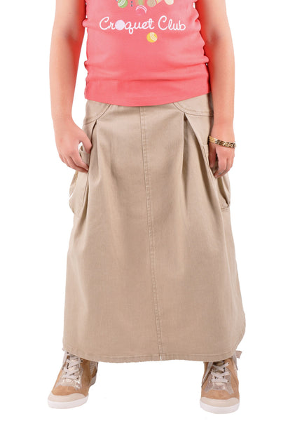 Cute In Khaki Girls Skirt # GL-0491