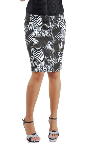 Modern Print Pencil Skirt # KN-0259