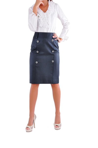 Row Buttons Blue Skirt # KN-0292C