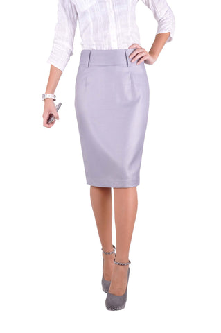Professional Gray Pencil Skirt # KN-0304