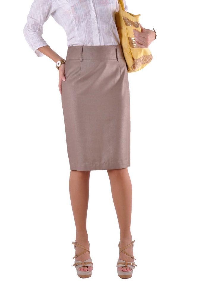 Professional Khaki Pencil Skirt # KN-0304B