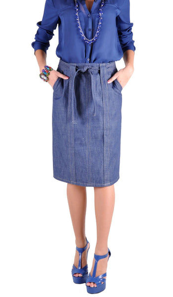 Pencil Knot Denim Skirt # KN-0454