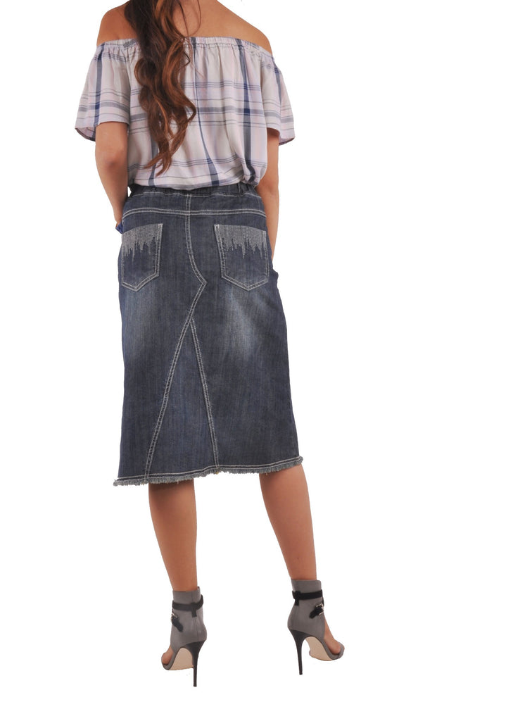 Line Pockets Denim Skirt # KN-0499