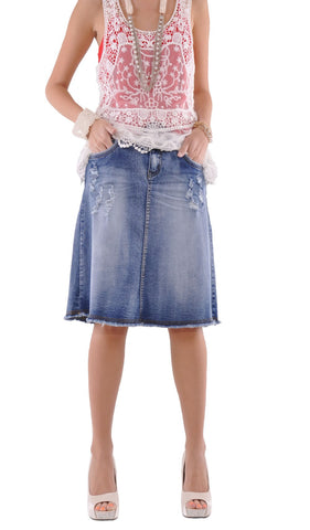 Rock N Ripped Jean Skirt # KN-0541