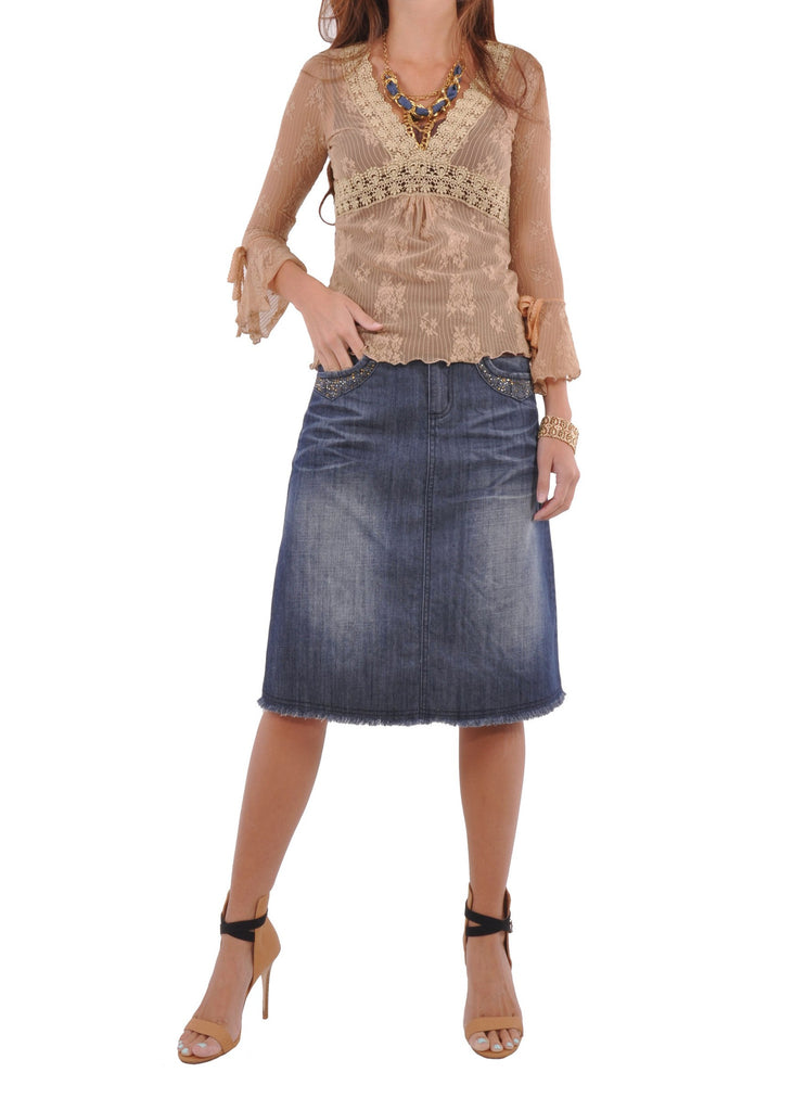 Sparkle Me Blue Denim Skirt # KN-0578