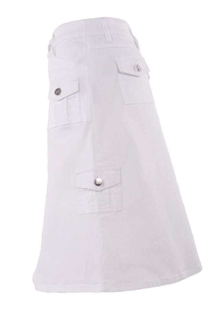Flashy White Cargo Denim Skirt # KN-0560