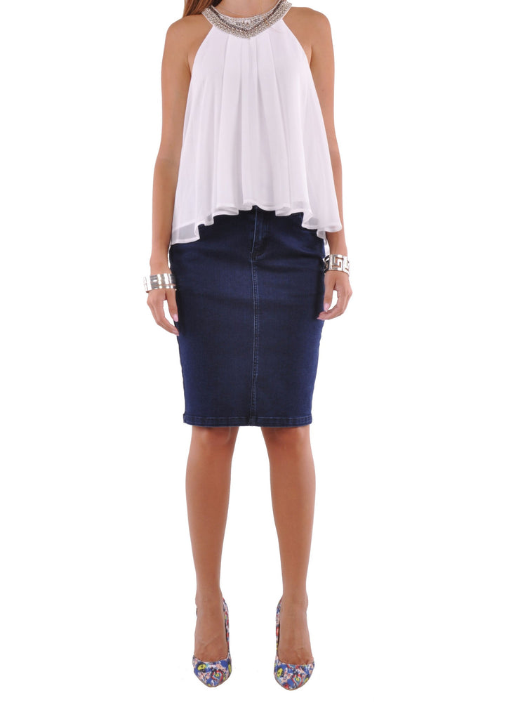 Posh Pencil Denim Skirt # KN-0598