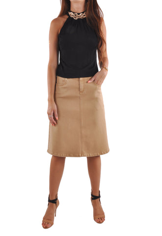 Simple Khaki Denim Skirt # KN-0623