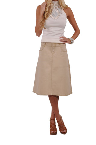 Simple Light Khaki Denim Skirt # KNP-0623