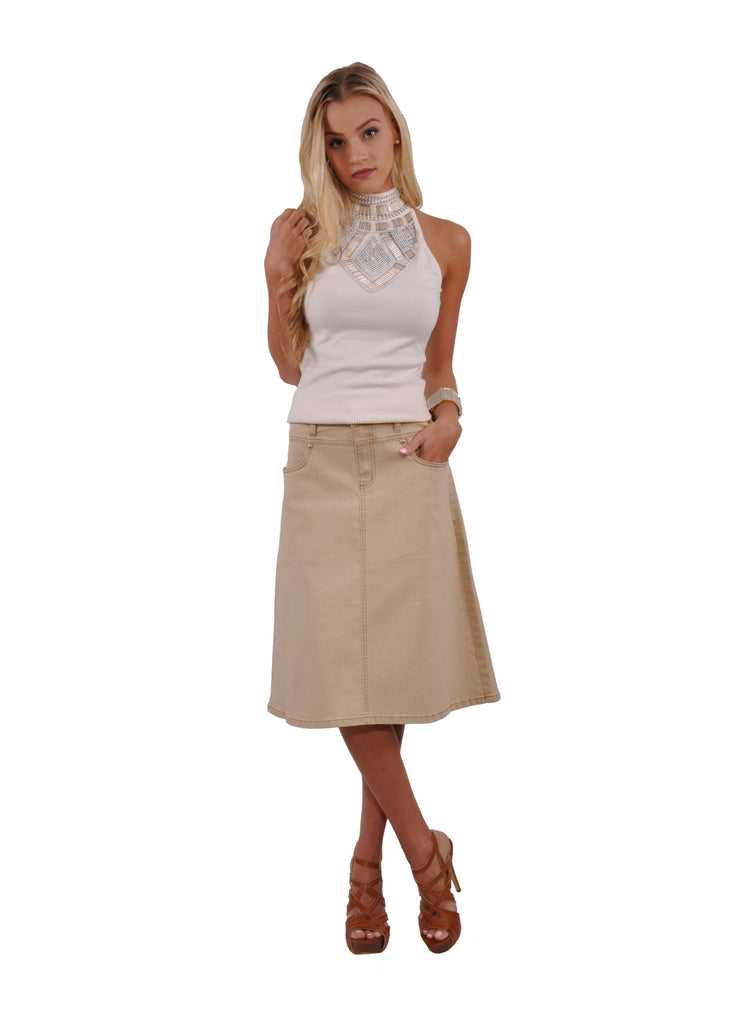 Simple Khaki Denim Skirt # KNP-0623