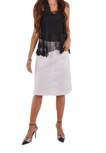 Ripped Pockets White Denim Skirt # KN-0633