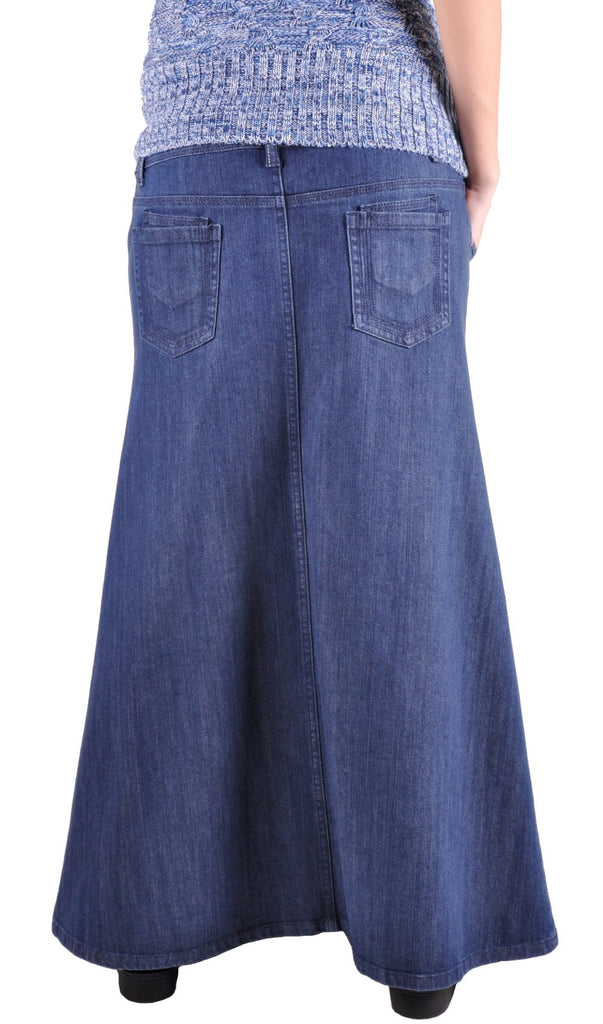 Everyday Maternity Long Denim Skirt # MT-0462