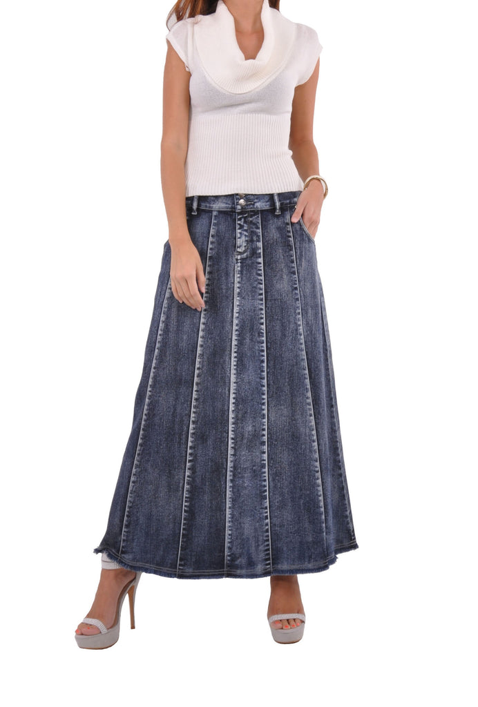 Blue Waterfall Long Denim Skirt # PE-0574