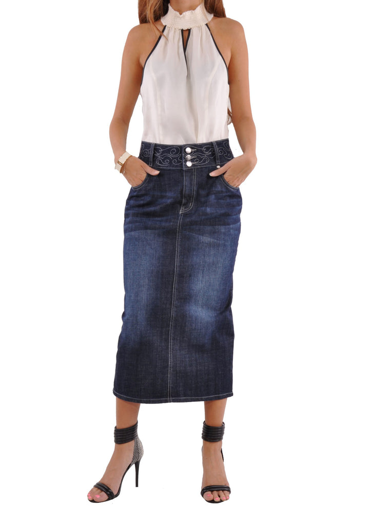 uptown denim skirt - plus size # pep-0588 | style j fashion for
