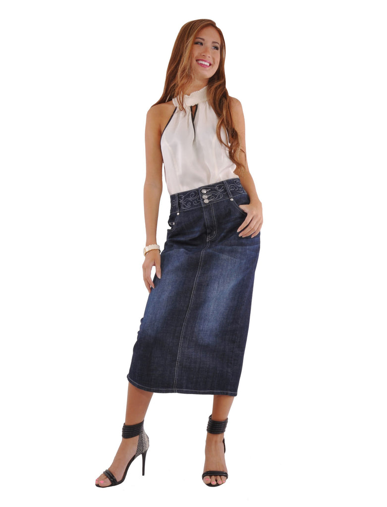 Uptown Denim Skirt - Plus Size # PEP-0588