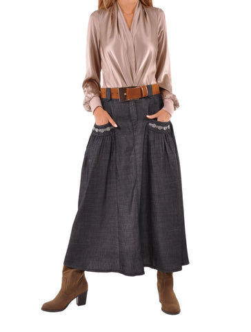 Relaxing Chambray Denim Skirt # PE-0615
