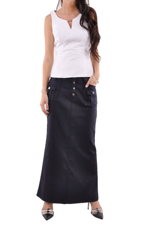 Classic Cargo Long Denim Skirt # PE-0619