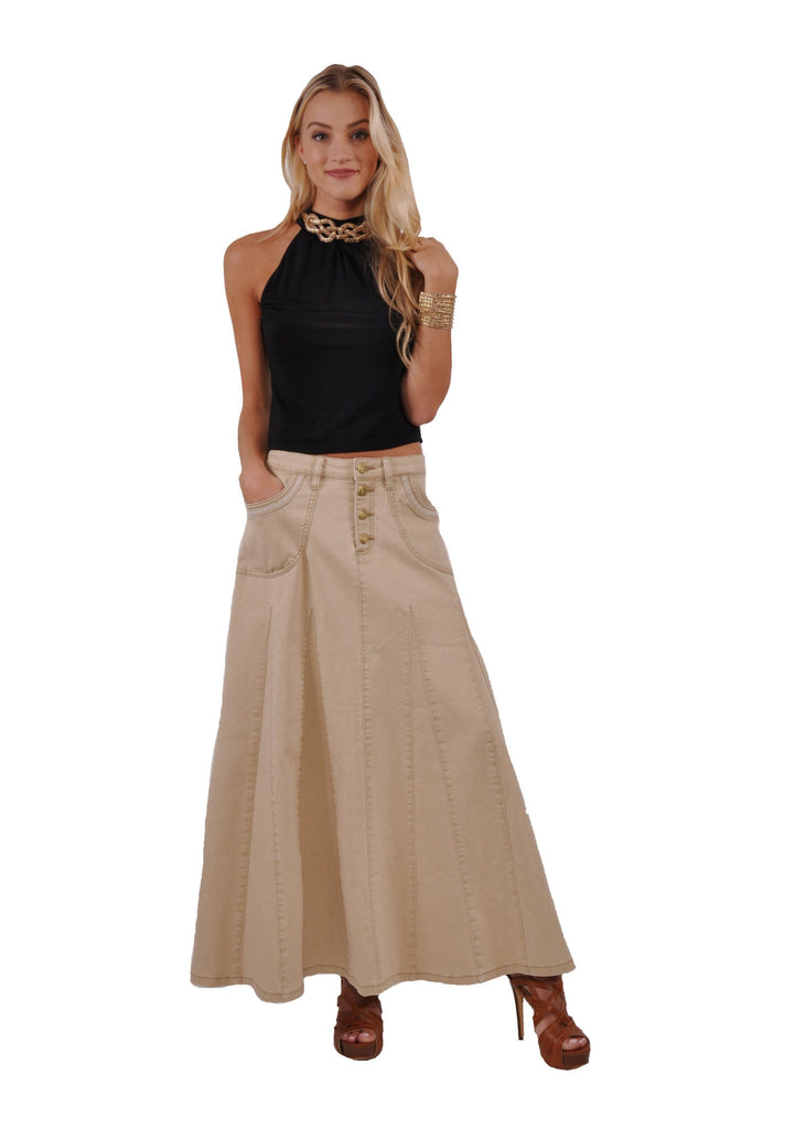 Khaki Charm Denim Skirt # PEP-0624