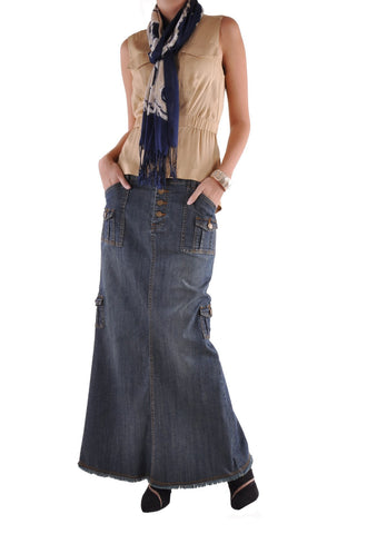 Charming Cargo Long Denim Skirt # RE-0519