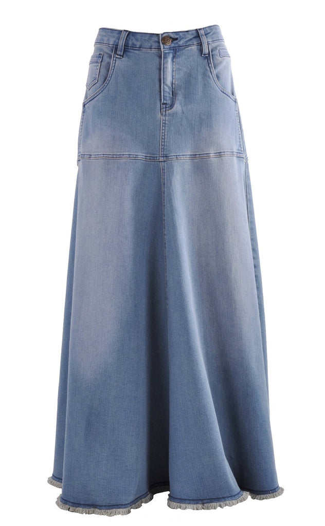 Flowing Love Long Jean Skirt # RE-0525