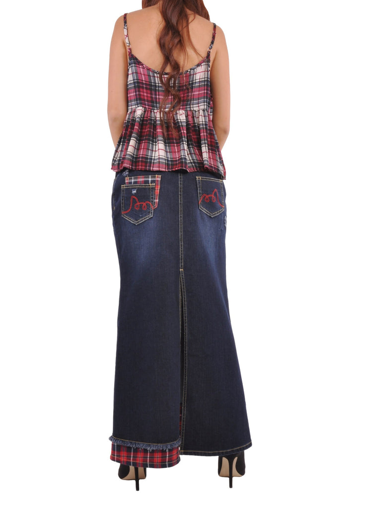 Modern Plaid Denim Skirt # RE-0576