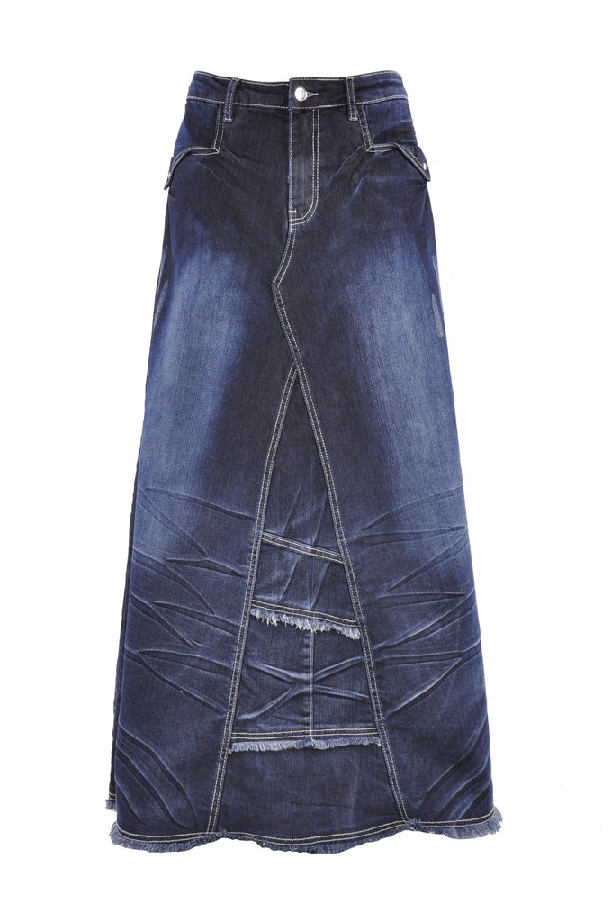 Wrinkled Wonder Long Denim Skirt # RE-0583