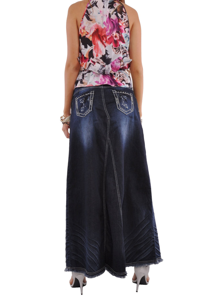 Wrinkled Wonder Long Denim Skirt - Plus Size # REP-0583