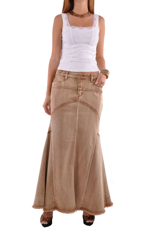 Brown Beauty Long Denim Skirt # RE-0592
