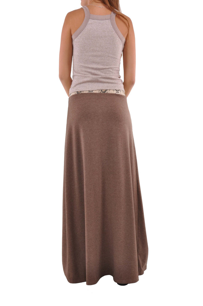 Jersey Brown Maxi Skirt - Plus Size # REP-0602