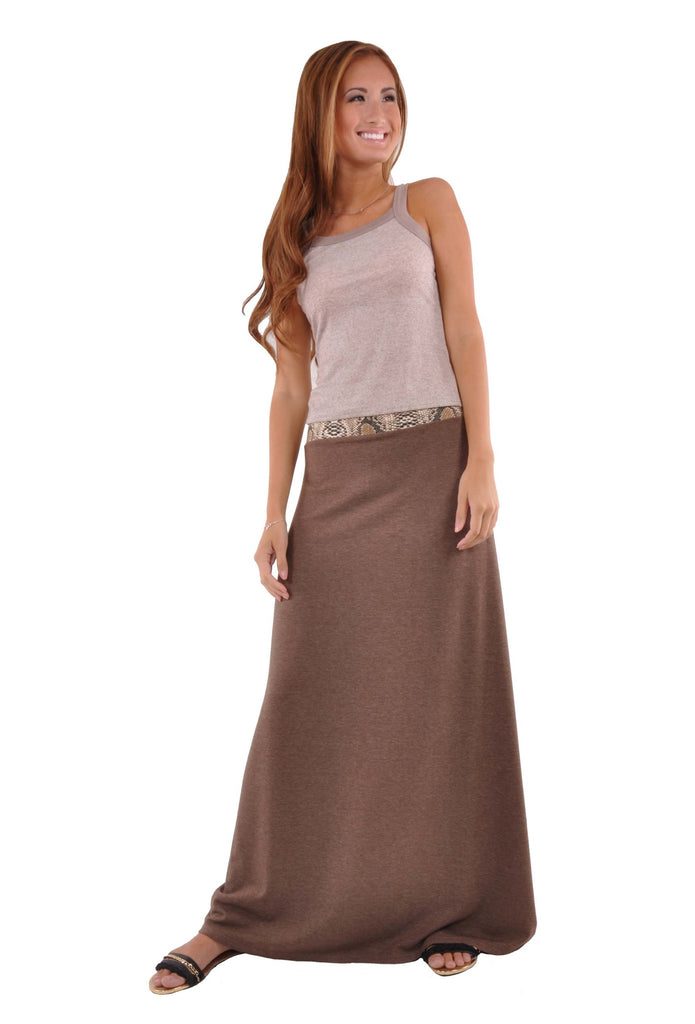 Jersey Brown Maxi Skirt # RE-0602