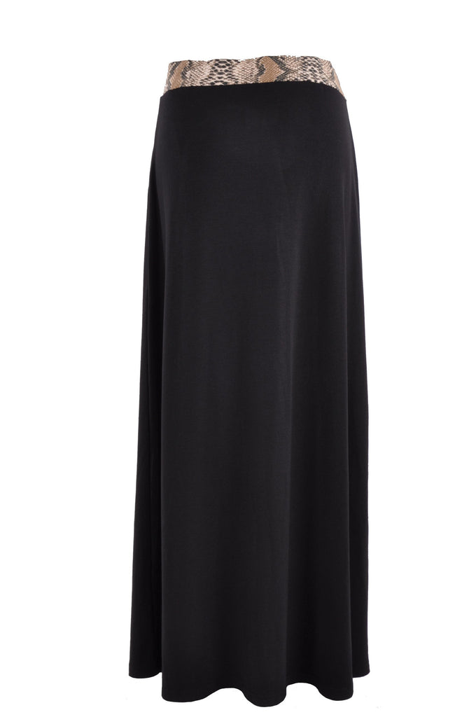 Jersey Black Maxi Skirt - Plus Size # REP-0603