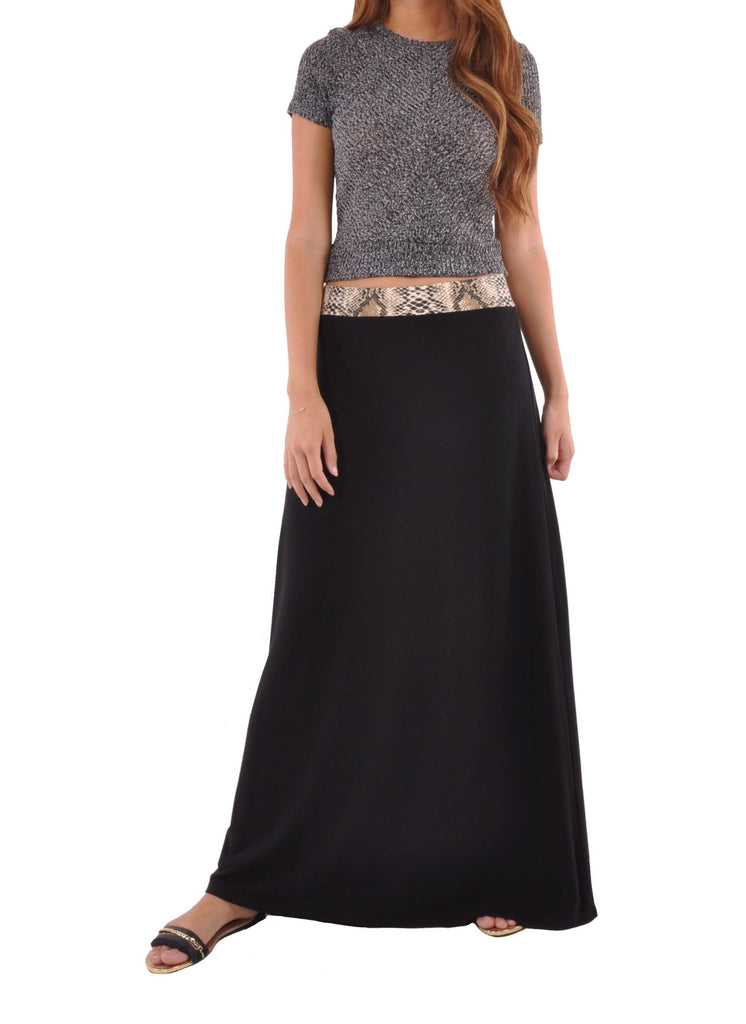 Jersey Black Maxi Skirt # RE-0603