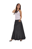 Fantastic Black Long Denim Skirt # RE-0621