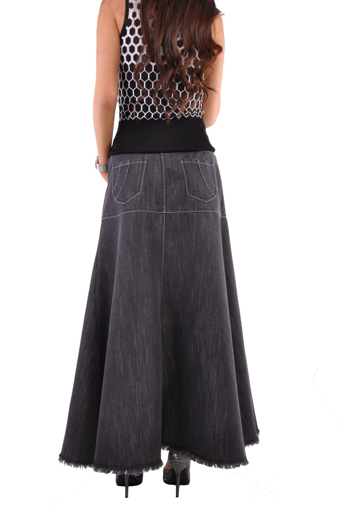 Flowing Chambray Long Denim Skirt # RE-0622