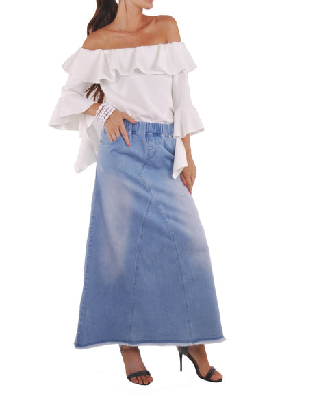 Love Blue Long Jean Skirt # RE-0632