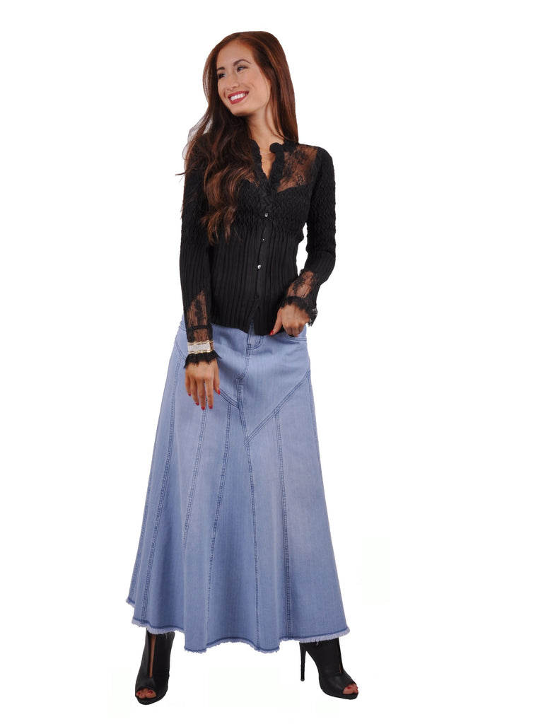 Bonita Blue Flares Long Jean Skirt # RE-0637