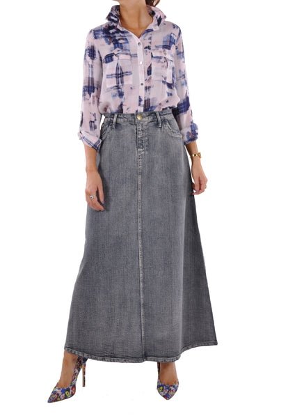 Simple Brushed Long Denim Skirt # REP-0649