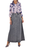 Simple Brushed Long Denim Skirt # RE-0649